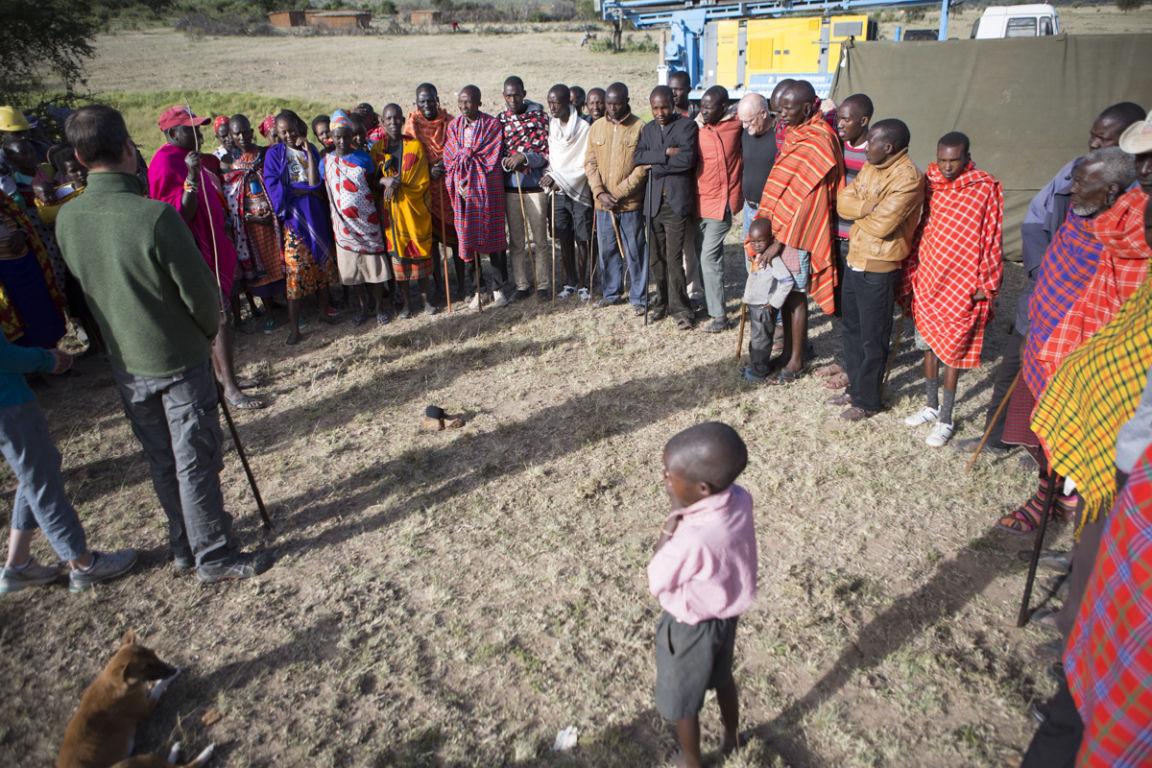 Drilling a fresh water well at Ilturisho Kenya starts with prayer.