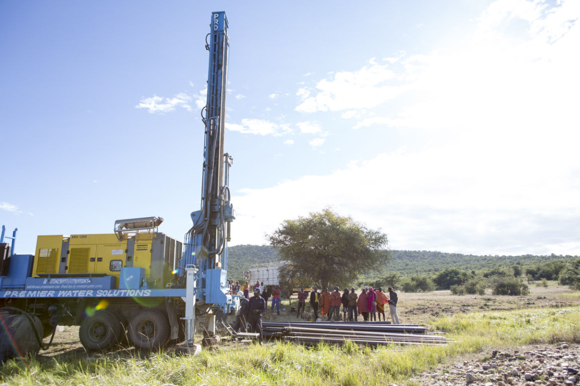 Drilling a fresh water well at Ilturisho Kenya
