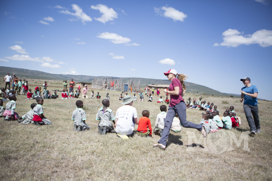 Playing games at the Saaten school. The site of a pipeline project of Montana on a Mission, providing the school with clean water.