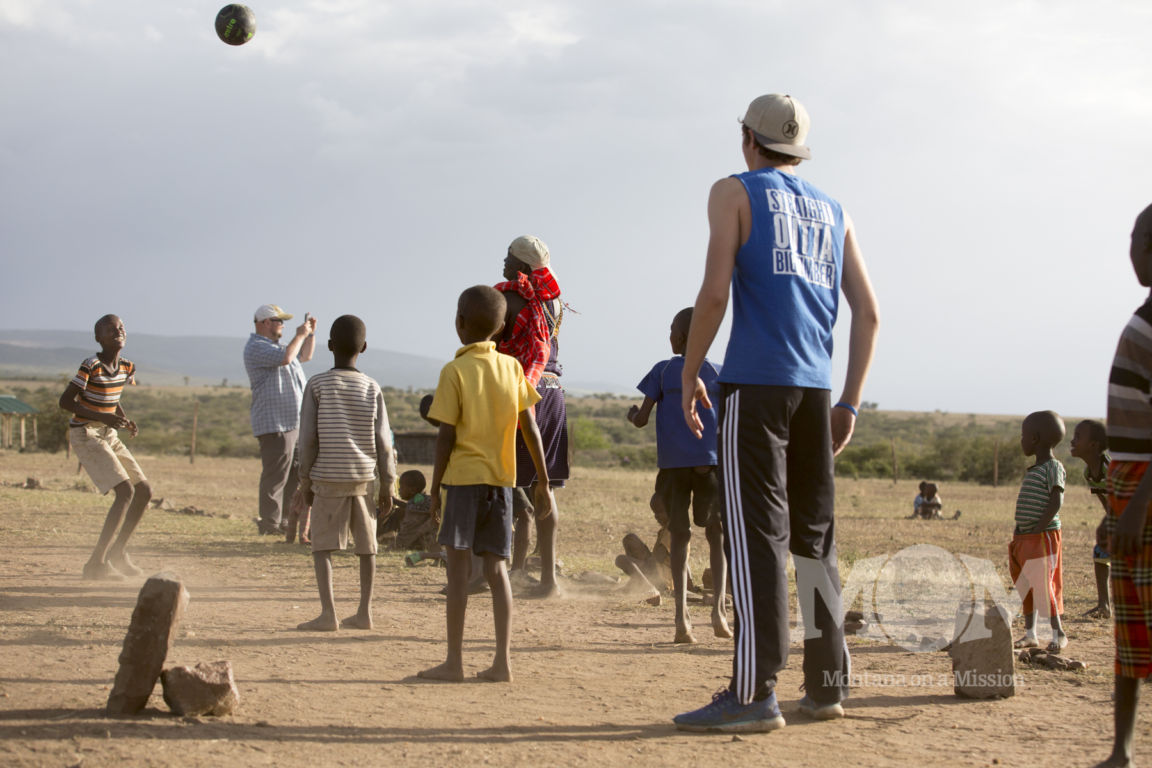 Playing football with the students at Saaten primary school, the site of a Montana on a Mission pipeline providing clean water to the children and their families.