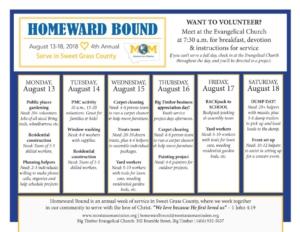 Homeward Bound schedule