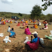 Maasai people receiving food relief