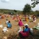 Maasai people receiving food relief