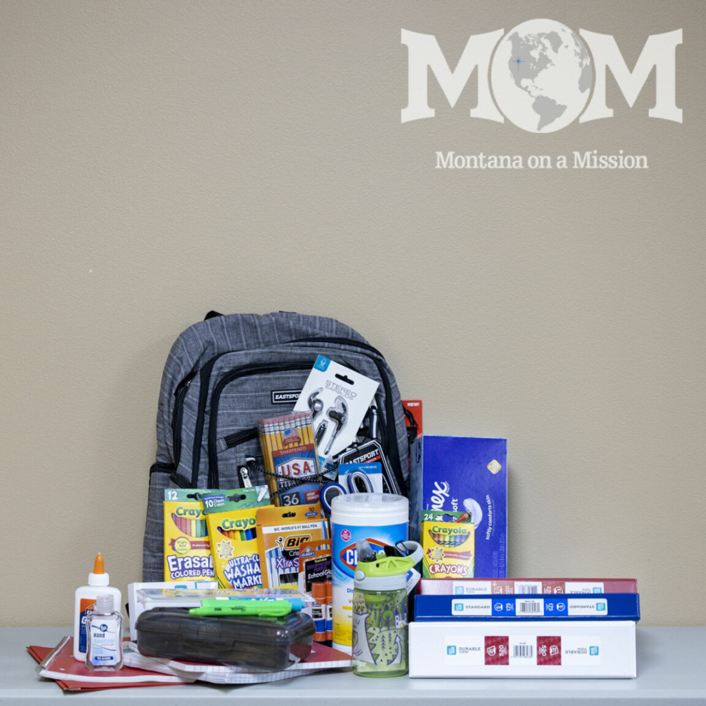 Montana on a Mission supplies backpacks and school supplies at the start of each school year to students in need.